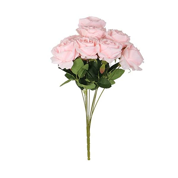 VWMYQ 9 Heads Artificial Flowers Silk Rose Real Looking Flowers Decoration Bridal Wedding Bouquet for Party Garden Cabin Home Office Baby Shower Indoor Décor