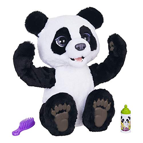 FurReal Friends E85935S1 furReal Plum, The Curious Panda Cub Interactive Plush Toy, White-Black