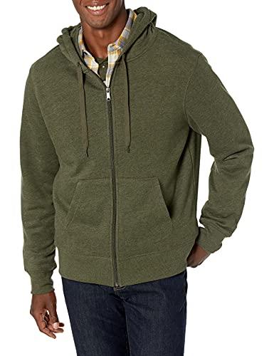 Amazon Essentials Men's Full-Zip Hooded Fleece Sweatshirt, Olive Heather, XX-Large