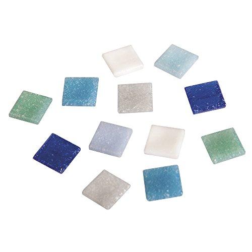 Rayher 1453008, Set tessere per mosaico, tasselli in vetro, piastrelle ideali per decorazioni e fai da te, 1x1 cm, ca. 1300 pz, sfumature di blu.