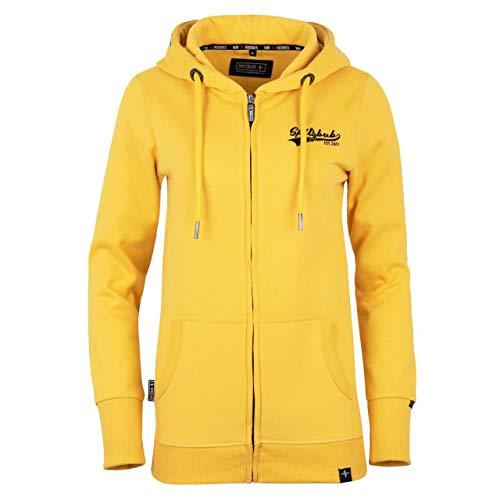 Spitzbub Damen Hoodie Pullover mit Kapuze Sweatjacke Zipper Kapuzenpullover mit Reißverschluss Elise Gelb in XL