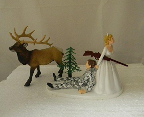 Wedding reception party Bull Elk Winter Camo Hunter Hunting Cake Topper