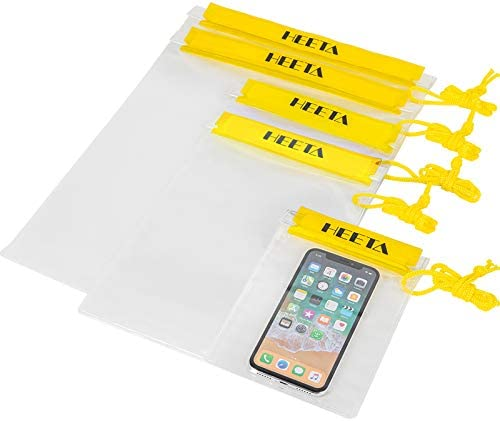 HEETA 5 Pack Clear Waterproof Dry Bag Water Tight Cases Pouch Dry Bags for Camera Mobile Phone product image