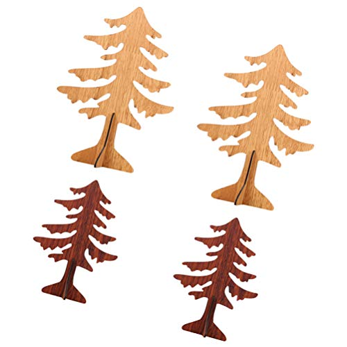 TOYANDONA 4pcs Tabletop Mini Wooden Christmas Tree DIY Xmas Tree Crafts for Xmas Holiday Party Tree Skirt Fireplace Shelf Home Decoration
