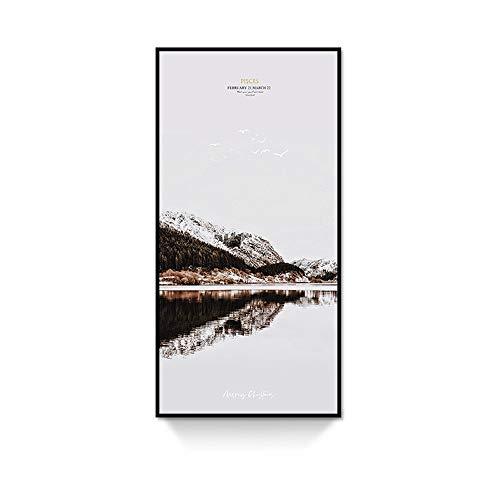 Peinture murale sur toile pour salon, chambre à coucher, couloir, bureau – Alpes dans un paysage, hôtel, salon (couleur : A, taille : 60 x 120 cm)