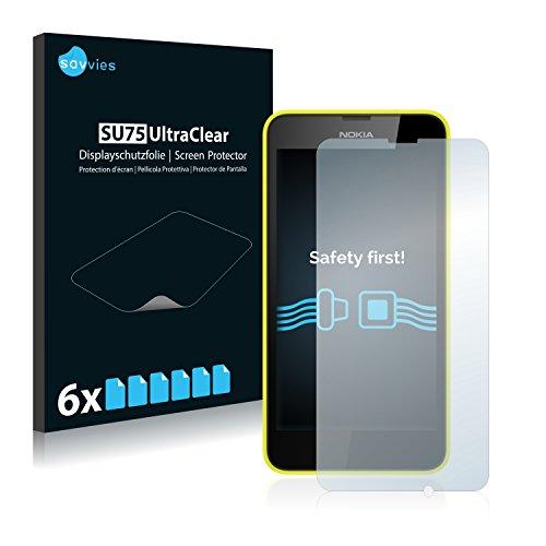 savvies Protector Pantalla Compatible con Nokia Lumia 635 (6 Unidades) Pelicula Ultra Transparente