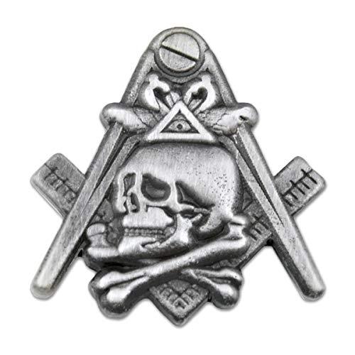 Widow's Son Skull Square & Compass Masonic Lapel Pin - [Antique Silver][1'' Tall]