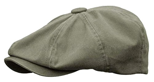 Rooster Washed Cotton Newsboy Gatsby Ivy Cap Golf Cabbie Driving Hat (XX-Large, Olive)
