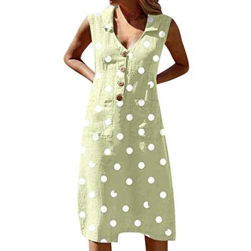 Damen Kleider für Hochzeitsgäste, Vintage-Design, Maxikleid, Bohemian-Stil, Spaghettiträger, Übergröße, ärmelloses Kleid - Grün - Klein