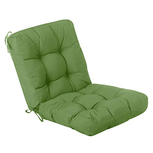 QILLOWAY Outdoor Seat/Back Chair Cushion Tufted Pillow , Spring/Summer Seasonal All Weather Replacement Cushions. (Dark Green)
