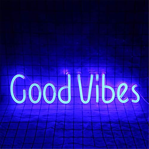 QiaoFei LED Blue Goodvibes Neon Light Signs Dream Shape Neon Night Lights for Kid's Room Decor Light Lamp Bedroom Bar Pub Christmas Coffee Shop Wall Art Decoration Sign(18''~6'') Birthday Gift-Blue