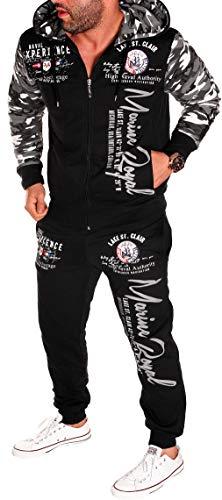 Herren Fitness Jogginganzug Sportanzug Kapuze Kaputze Reißverschluss Zip Taschen Camouflage Army Tarn Jacke und Hose Gym Trainingsanzug Camou-Schwarz (ARMS) 4XL