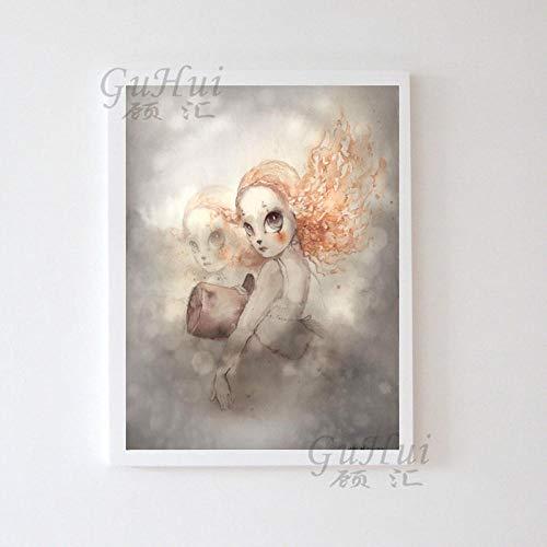 QZQ Nordic aquarel cartoon bloem hert schommel konijn meisjes jongens vleugels vogel dier poster canvas schilderij muurschildering kinderkamer decoratie geen lijst 40X50cm D