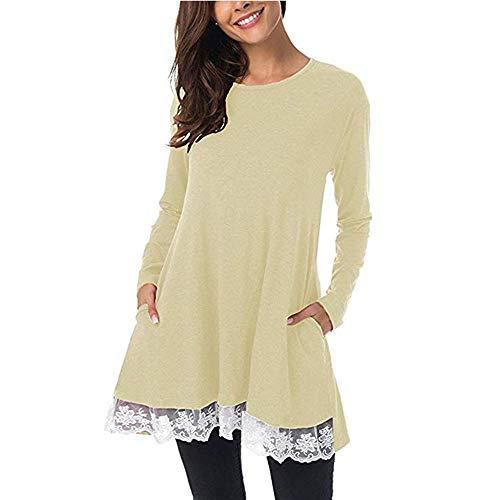 T-Shirt Femme, YUYOUG Femmes Casual Manche Longue T-Shirt à col Rond Hauts en Dentelle en Vrac Blouse Longue Tunique Grande Taille (2XL, Beige)