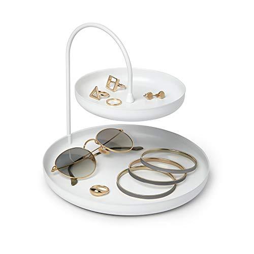UMBRA Poise accessory organizer. Porte bijoux à 2 niveaux Poise. En métal coloris blanc mat. Dimension 20.3cm de diamètre et 18cm de haut.