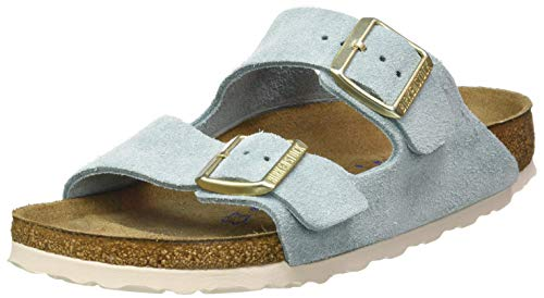 BIRKENSTOCK Damen Arizona SFB Cuir Suede Light Blue Sandale, 37 EU