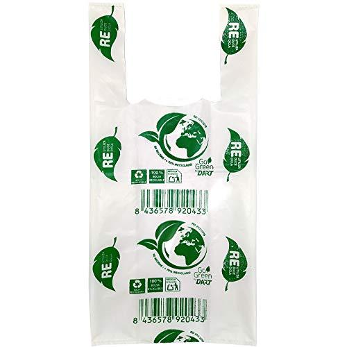 ZCENTER Bolsas de Plástico Tipo Camiseta Resistentes, Reutilizables y 100% Bolsa Reciclabre,70% Recicladas, Tamaño 35x50 cm