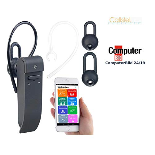 Callstel Sprachübersetzer: 2in1-Live-Übersetzer und In-Ear-Mono-Headset, kabellos, Bluetooth, App (Sprachübersetzter)