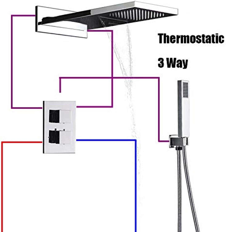 TQ Thermostatic Chrome Finish Shower Faucet 3 Ways Waterfall Rain Shower Head 3 Way Digital Display Mixer Taps 4 Way Bath Faucet,3way,C
