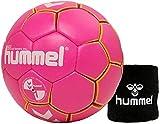 hummel Kinder Handball Kids 091792 Größe 00/0/1 im Set mit Schweißband Old School Small Wristband 99015 (schwarz) (Pink/Yellow (3028), 1)