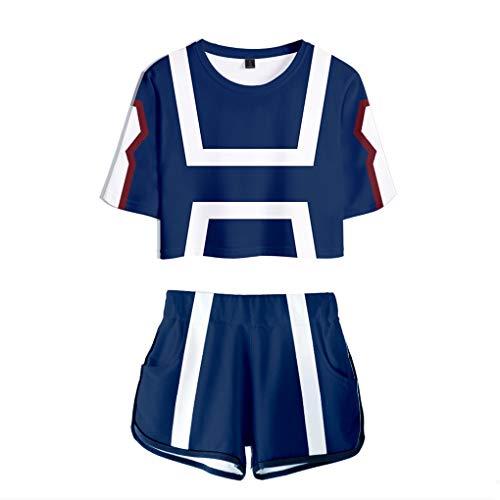 Memoryee 3D Boku No Hero Academia imprimiendo Camisetas y Shorts Tops de Ropa Cosplay El Uniforme Traje de Dos Piezas para niñas y Mujeres Ropa Deportiva de Verano Suit 2 S