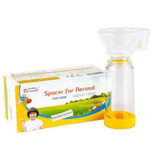 Espaciador Aerochamber Plus para adultos, viene con máscara, tres tamaños para elegir, paquete sellado, limpio y seguro. (Grande) (amarillo)