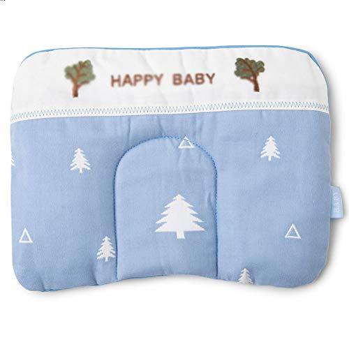 JUNBABY Oreiller de Soutien de tête de bébé, Coussin réglable, Positionneur de Sommeil pour Le Cou, pour Poussette, siège Auto, Taie d'oreiller, Design Ergonomique-Blue