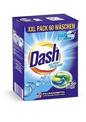 Dash® Alpen Frische 3 in 1 Caps XXL-Sparpack I 60 Waschladungen I Waschmittel-Caps für weiße Wäsche I 3 in 1 Formel für Frische, Reinheit und Sauberkeit | 1,59 kg