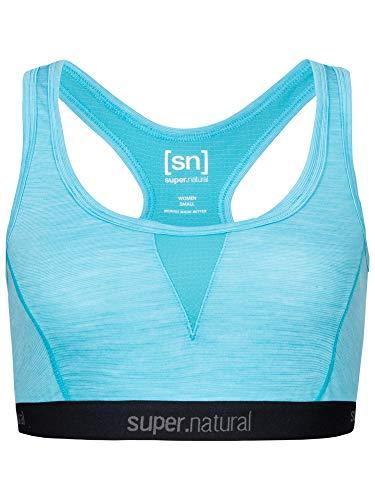 super.natural Damen Sport-BH, Mit Merinowolle, W SEMPLICE BRA 260, Größe: S, Farbe: Blau meliert