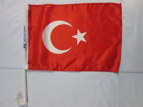 AZ FLAG AUTOFAHNE TÜRKEI 45x30cm - TÜRKISCHE AUTOFLAGGE 30 x 45 cm Auto flaggen