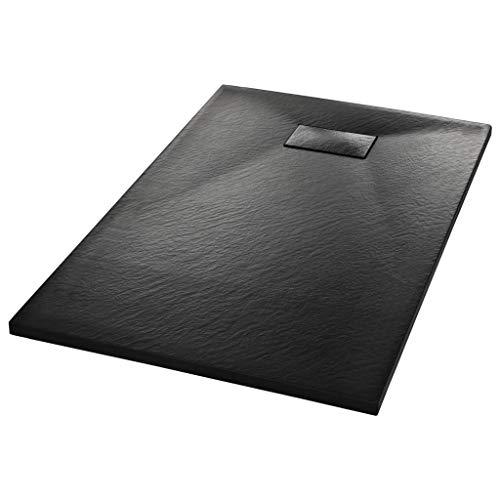 vidaXL Plato Ducha Resina Textura Pizarra Extraplano Antideslizante Mineral Fibra Vidrio Resistente Duradero Fácil Limpiar Cuadrado Negro 100x80 cm