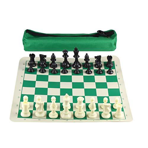 Andux Juego de ajedrez Enrollable con Bolso y Piezas de ajedrez de 32 Piezas XQTZ-02 (30x30cm)