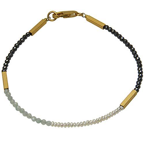 Edelsteen armband hoogwaardig goudsmeedwerk uit Duitsland (Sterling zilver 925, verguld) met hematiet/amazoniet/parels armband, damesarmband, designarmband