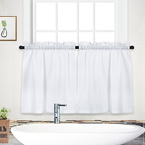 NANAN Tier Curtains,Waffle Weave Textured Short Curtain for Bathroom Waterproof Window Covering Kitchen Cafe Curtains - 30' x 24', White, Set of 2