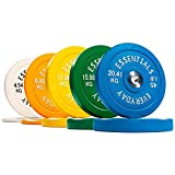 BalanceFrom Everyday Essentials Color Coded Olympic Bumper Plate Weight Plate with Steel Hub, 260 lbs Set