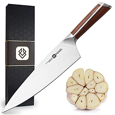 Cooking Chefs Knife 8 inch - Chef Kitchen Knives Razor Sharp - Made for Rugged Use - Chip Resistant German High Carbon Steel - Ergonomic Sandal Wood Handle - Japanese Inspired Designed in Detroit