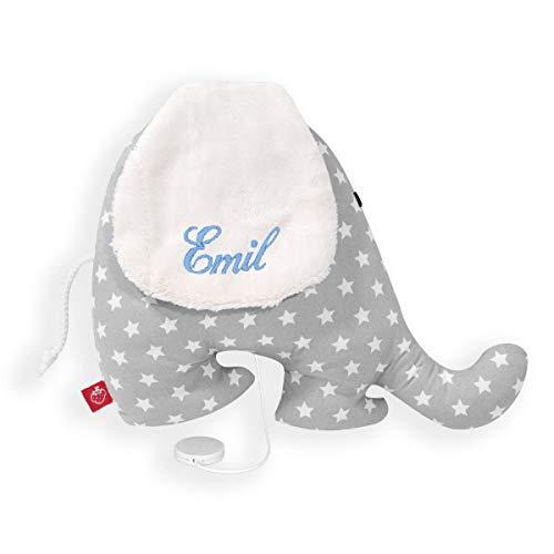 Spieluhr Elefant mit Namen Stern grau Baby