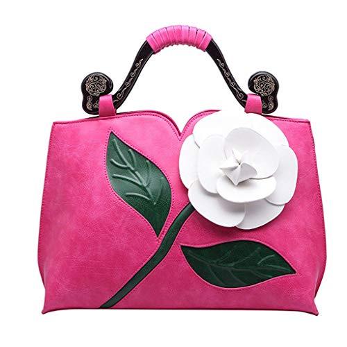 OIKAY Damen Handtasche Retro Classic Rose Tote Ethnische Wind Umhängetasche PU Leder Henkeltasche Schulterbeutel Messenger Griff Tragetaschen Rucksack