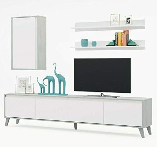 EGLEMTEK Parete Attrezzata Telde Mobile Soggiorno TV con 2 Mensole Salotto Legno Base Televisione Sala da Pranzo Design Moderno 200 x 50 x 41 cm Colore Bianco E Cemento