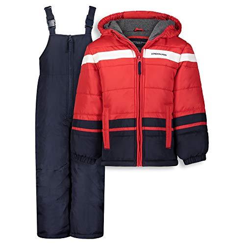 LONDON FOG Boys' Toddler 2-Piece Snow Pant & Jacket Snowsuit, red, 4T
