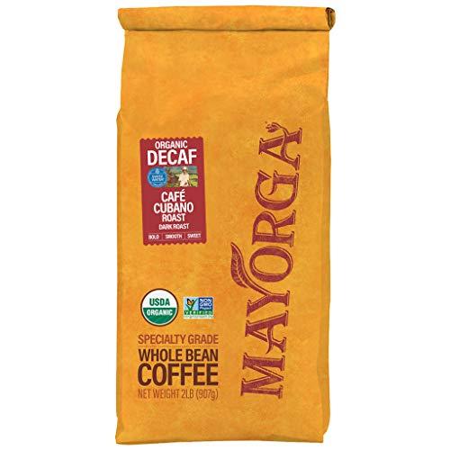 Mayorga Organics Swiss Water Decaf Café Cubano Roast, 2lb Bag, Dark Roast Whole Arabica Bean Coffee, Specialty-Grade, USDA Organic, Non-GMO Verified, Direct Trade, Kosher