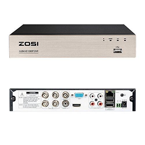 ZOSI CCTV 4CH HD 1080P DVR Digital Videorecorder Receiver mit 1TB Festplatte, HDMI VGA Ausgang, Unterstützt TVI/AHD/CVI/Analog Kamera