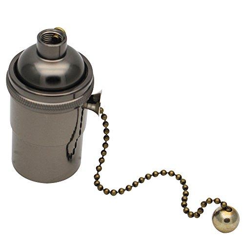 E27 Lampenfassung Kupfer Vintage mit Pull Kette für DIY Edison Pendelleuchte Hängelampe Halter Lampe Zubehör Perlschwarz