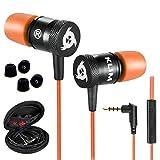KLIM Fusion Ecouteurs Haute Qualité Audio - Durables + Garantis 5 Ans - Innovant - Ecouteur Intra-auriculaire avec Mousse à Mémoire de Forme et Microphone - Prise Jack 3,5mm - Version 2020 - Orange