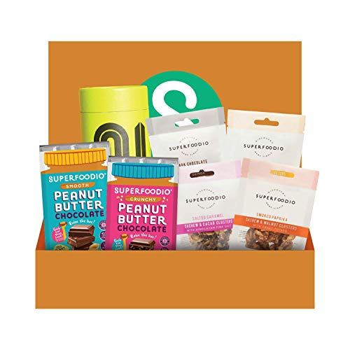 SUPERFOODIO Chocolate, Snacks & Tea Vegan Gift Hamper | All-Natural, No Refined Sugar, Tasty Source of Protein, Delicious Creamy Chocolate, Healthy Snacks, Ethical Tea