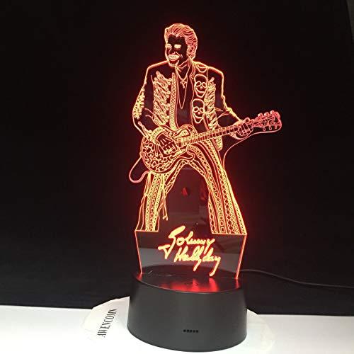 Nur 1 Stück Johnny Hallyday spielende Gitarre Home Decoration Craft Bright Base Remote Touch Farbwechsel Schlafzimmer 3D Nachtlicht Weihnachtsgeschenk