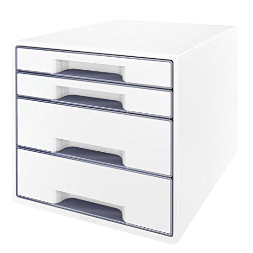 Leitz CUBE Schubladenbox mit 4 Fächern, Perlweiß/Grau, A4, Inkl. transparentem Schubladeneinsatz, WOW, 52132001