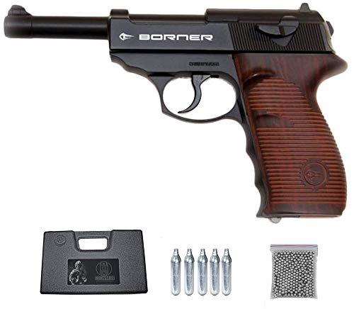 C41 Borner Pack Pistola de balines (perdigones Bolas de Acero BB's). Arma de Aire comprimido CO2 4,5mm. Réplica Tipo Walther P38. Potencia: 2.55 Julios.