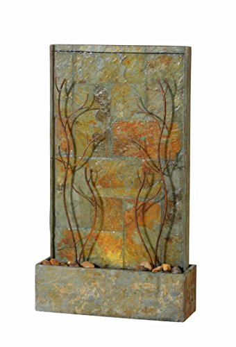 Kenroy Home 51015SLCOP Trailing Vines Indoor/Outdoor Floor Fountain with Light, 33 Inch Height, Natural Green Slate and Copper