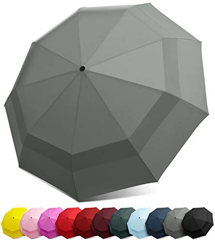 EEZ-Y Compact Travel Umbrella w/Windproof Double Canopy Construction - Auto Open/Close Button
